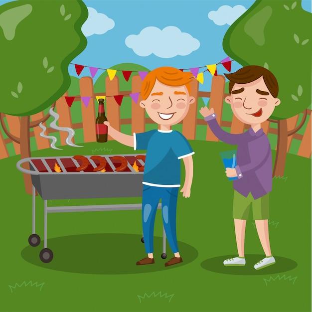 Gelukkige vrienden die openluchtbarbecue hebben, mensen die vlees koken, samen bier spreken en drinken illustratie Premium Vector