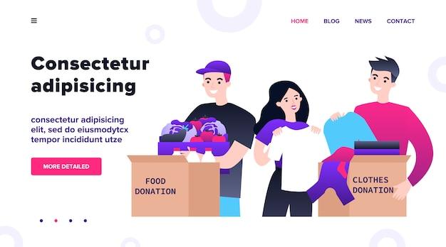 Gelukkige vrijwilligers die kleding en voedsel schenken voor liefdadigheidsillustratie. jong vrijwilligers team dat spullen in dozen doet voor arme mensen. vriendelijkheid en vrijgevigheid concept. Premium Vector