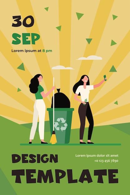 Gelukkige vrijwilligers die vuilnis plukken en selfie maken. vrouwen met bezem, vuilnisbak, platte sjabloon folder recycling Gratis Vector