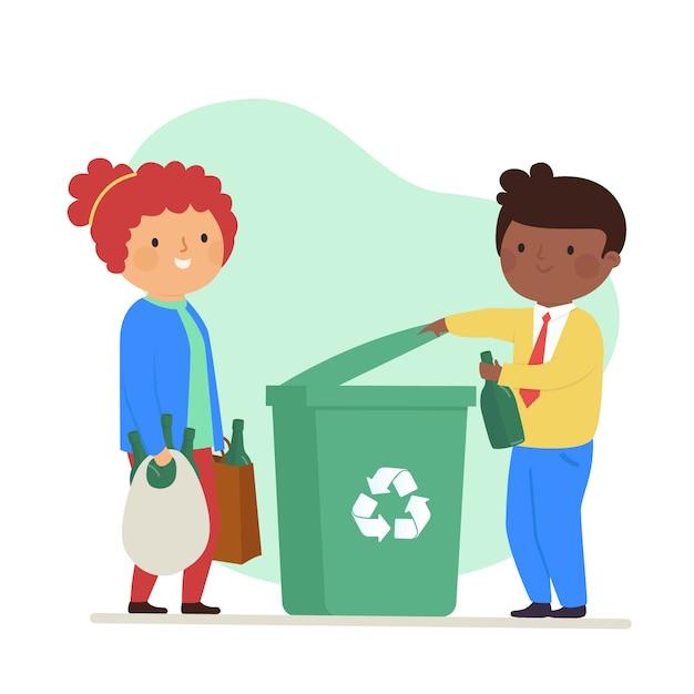 Gelukkige vrouw en man die het afval recycleren Gratis Vector