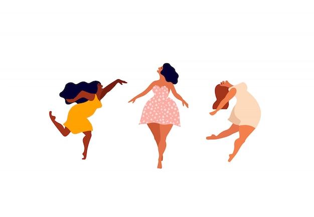 Gelukkige vrouw. lichaam positieve kaart. ik hou van je lichaam belettering type. vrouwelijke vrijheid, girl power of internationale vrouwendag illustratie. Premium Vector