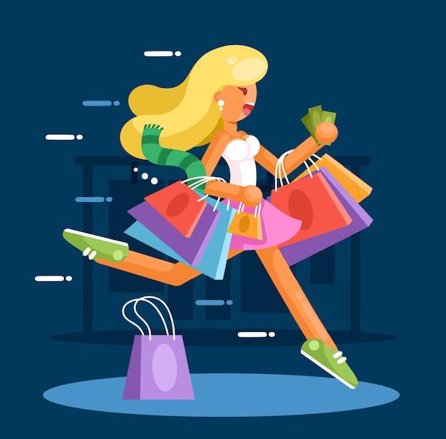 Gelukkige vrouw met boodschappentassen haast zich om aankopen te doen. Premium Vector