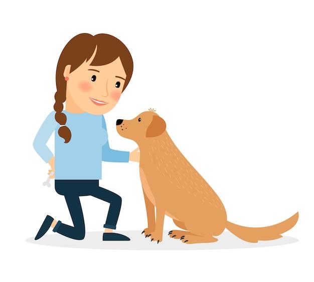 Gelukkige vrouw met hond Premium Vector