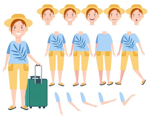 Gelukkige vrouwelijke toerist in zonhoed met de reeks van het bagagekarakter Gratis Vector