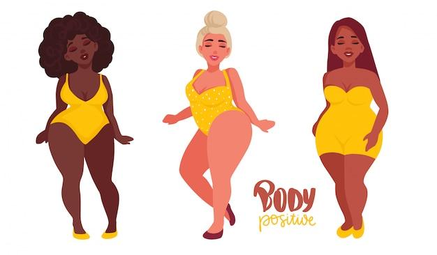 Gelukkige vrouwen met verschillende huidskleur gekleed in zwempakken. Premium Vector