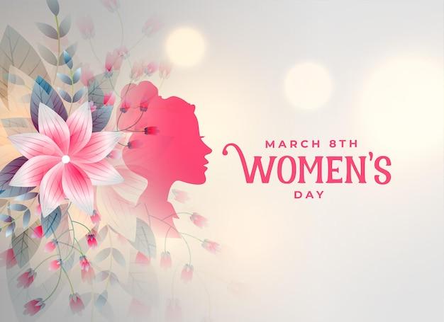 Gelukkige vrouwendag decoratieve bloemkaart Gratis Vector