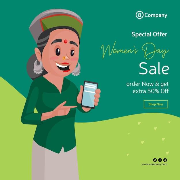 Gelukkige vrouwendag speciale aanbieding verkoop bannerontwerp met vrouw haar mobiele telefoon tonen Premium Vector