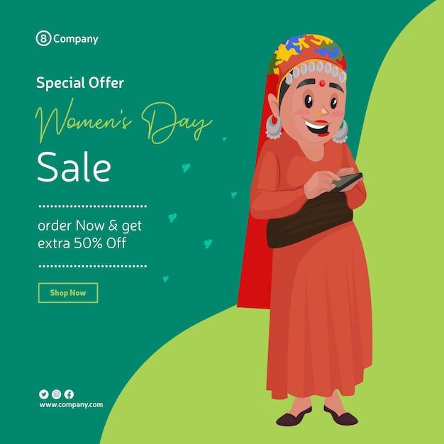 Gelukkige vrouwendag speciale aanbieding verkoop bannerontwerp met vrouw met behulp van haar telefoon Premium Vector