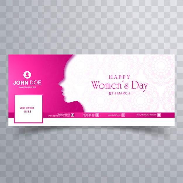 Gelukkige vrouwendag wenskaart met facebook voorbladsjabloon Gratis Vector