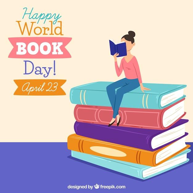 Gelukkige wereld boek dag achtergrond Gratis Vector
