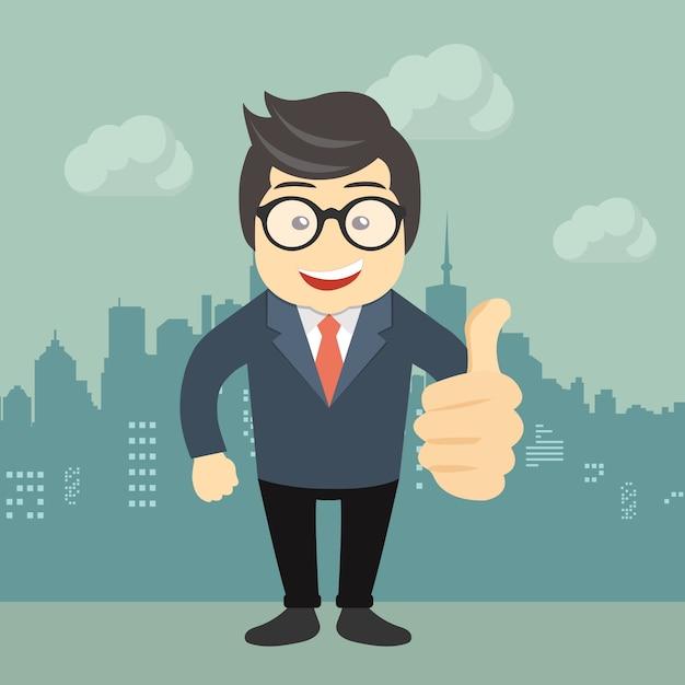 Gelukkige zakenman die duimen omhoog teken maakt Gratis Vector