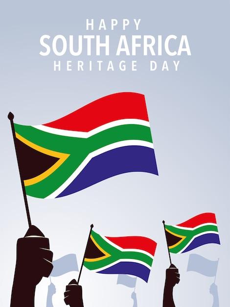 Gelukkige zuid-afrikaanse erfenisdag, handen met vlaggen van de illustratie van zuid-afrika Premium Vector