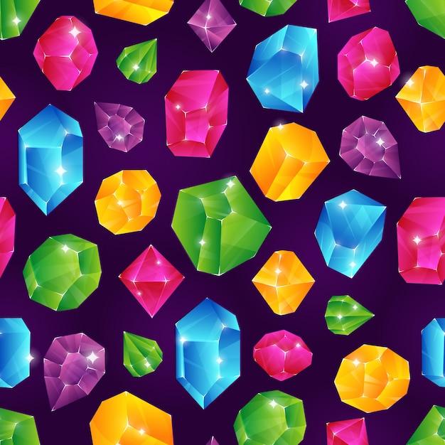 Gem naadloos patroon. gekleurde diamanten juwelen kostbare diamantsteen robijn briljante edelsteen eindeloze textuur set Premium Vector