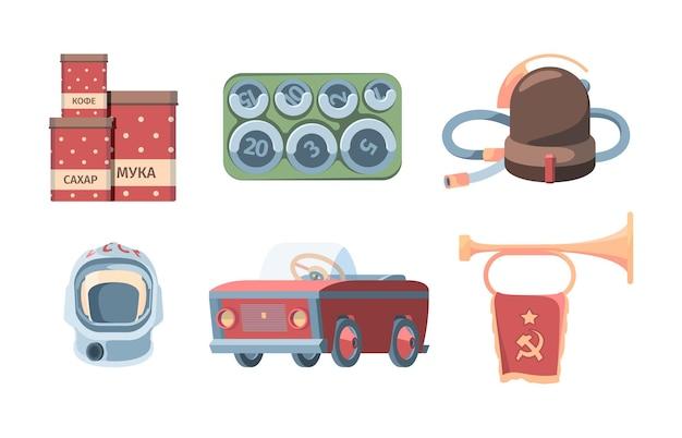 Gemaakt in ussr set. rode blikken opslag meel suiker retro stofzuiger sovjet kosmonauten helm pedaal machine voor kinderen bugel met vlag socialistische huishoudelijke artikelen. Premium Vector