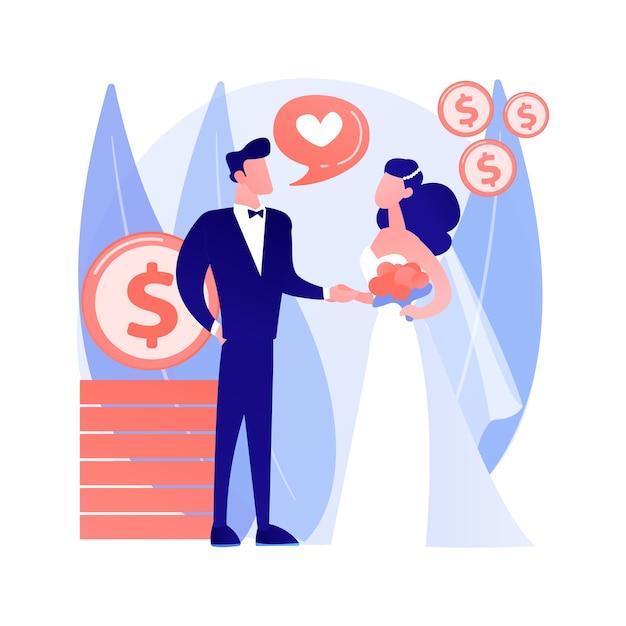 Gemakshuwelijk abstract begrip vectorillustratie. politiek huwelijk, financiële motivatie, oude rijke echtgenoot, trouwringen, dollarbankbiljetten, neem geld van hogere abstracte metafoor. Gratis Vector