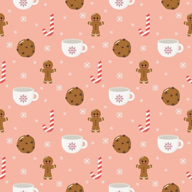 Gember koekje kerst dessert naadloze patroon geïsoleerd op roze achtergrond Premium Vector