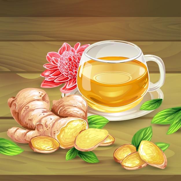 Gember thee vector samenstelling op houten achtergrond Gratis Vector