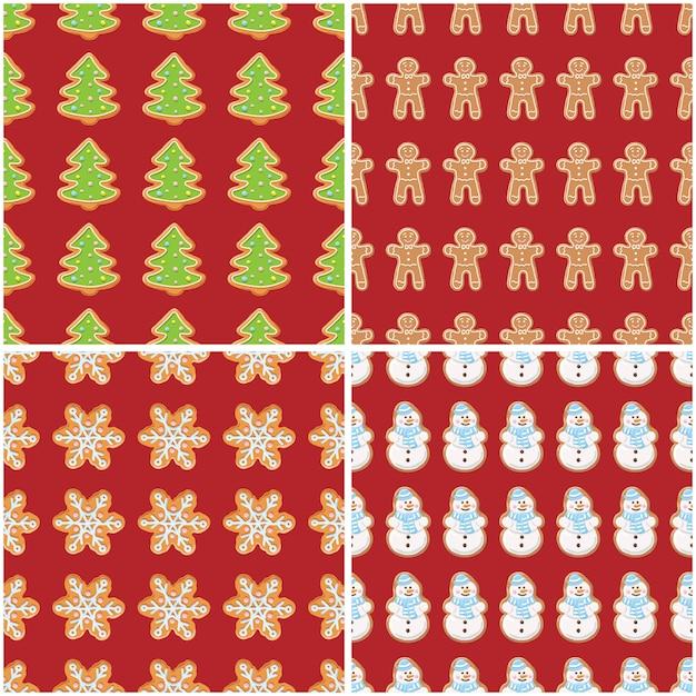 Gemberkoekjes naadloze patronen. kerstmis en nieuwjaar achtergronden instellen collectie. Premium Vector