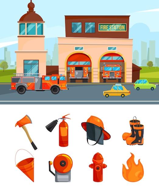 Gemeentelijke bouw van brandweerkazernes. vectorafbeeldingen isoleren op wit Premium Vector