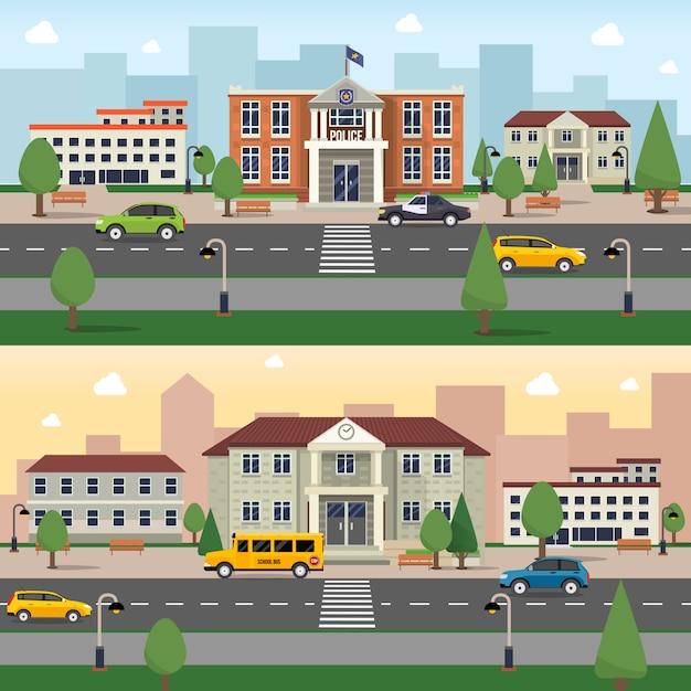 Gemeentelijke gebouwen banner Gratis Vector