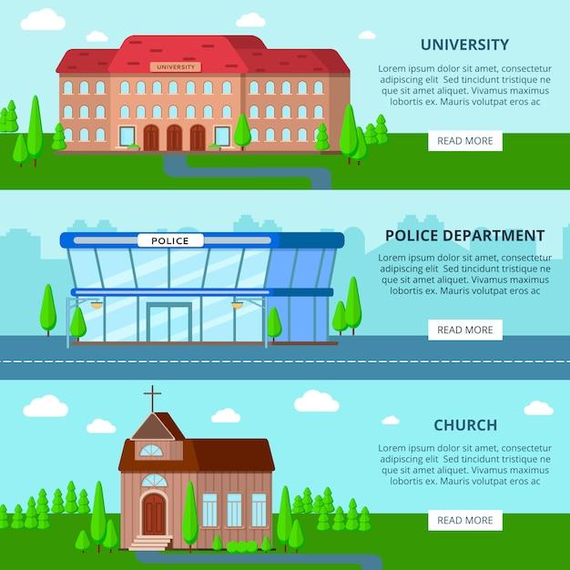 Gemeentelijke gebouwen horizontale banners Gratis Vector