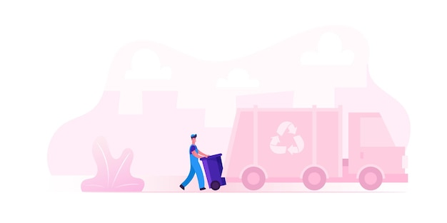 Gemeentelijke recycling service werknemer uniforme laden afvalbak naar vuilniswagen voor transport op recycle gebruik fabriek dragen cartoon vlakke afbeelding Premium Vector