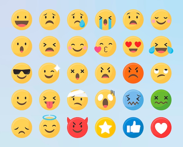 Gemengde emoji-set Gratis Vector