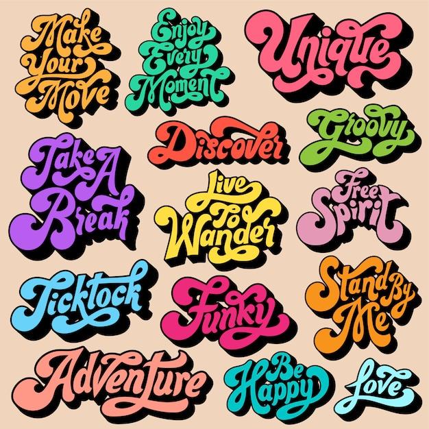 Gemengde set van motivationele typografie Gratis Vector