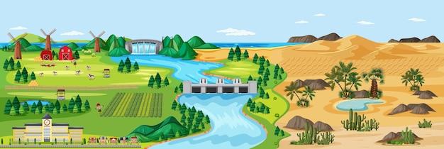 Gemengde verschillende natuurscène boerderij en woestijn Gratis Vector