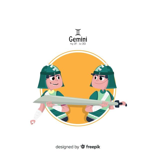 Gemini-karakter hand getrokken stijl Gratis Vector