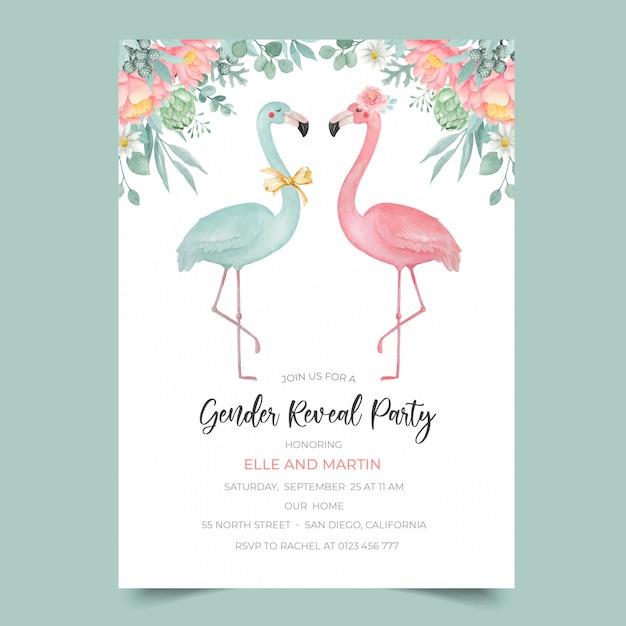 Gender reveal party uitnodiging sjabloon met aquarel flamingo en bloem illustratie Premium Vector