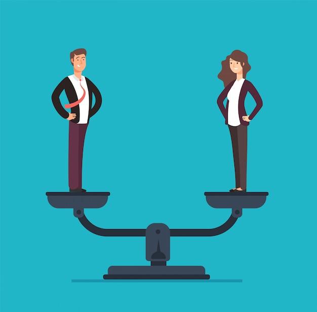 Gendergelijkheid met zakenman en zakenvrouw op schalen. Premium Vector
