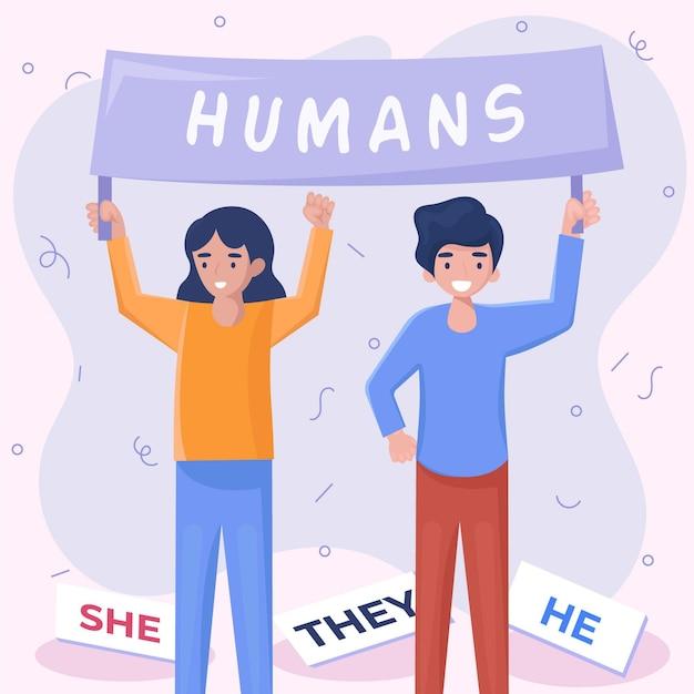 Genderneutrale beweging illustratie Gratis Vector