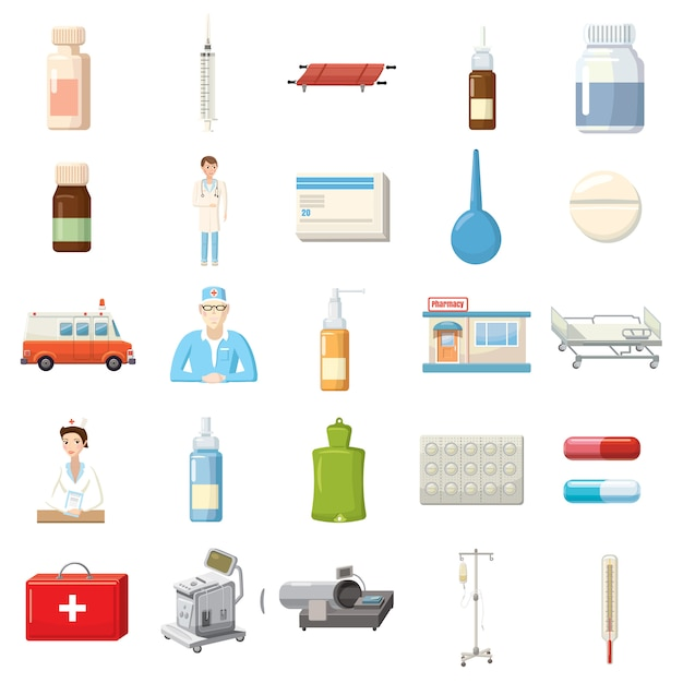 Geneeskunde apparatuur pictogrammen instellen in cartoon stijl Premium Vector