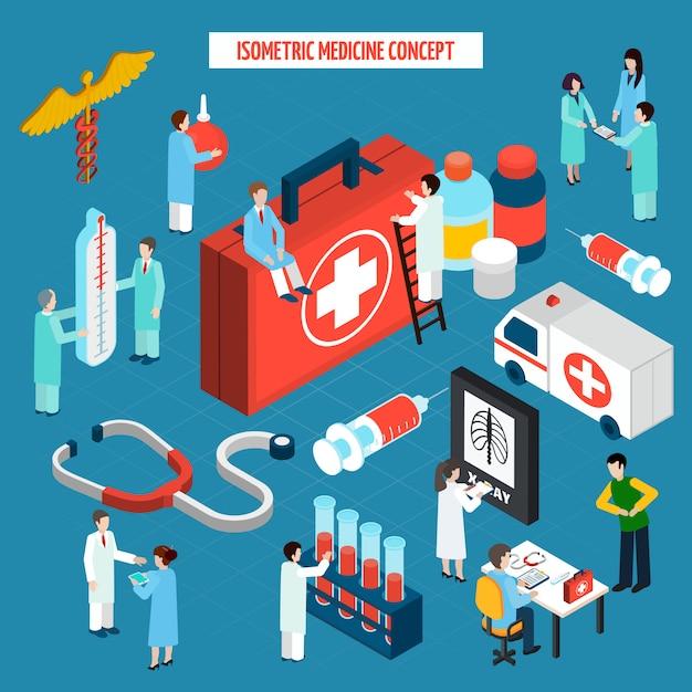 Geneeskunde gezondheidszorg concept isometrische samenstelling banner Gratis Vector