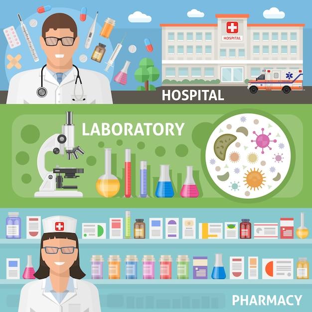Geneeskunde horizontale vlakke banners die met het ziekenhuisarts en de apotheek van het beroepsuitrustinglaboratorium geïsoleerde vectorillustratie worden geplaatst Gratis Vector
