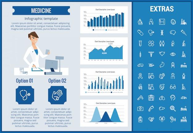 Geneeskunde infographic sjabloon, elementen en pictogrammen Premium Vector