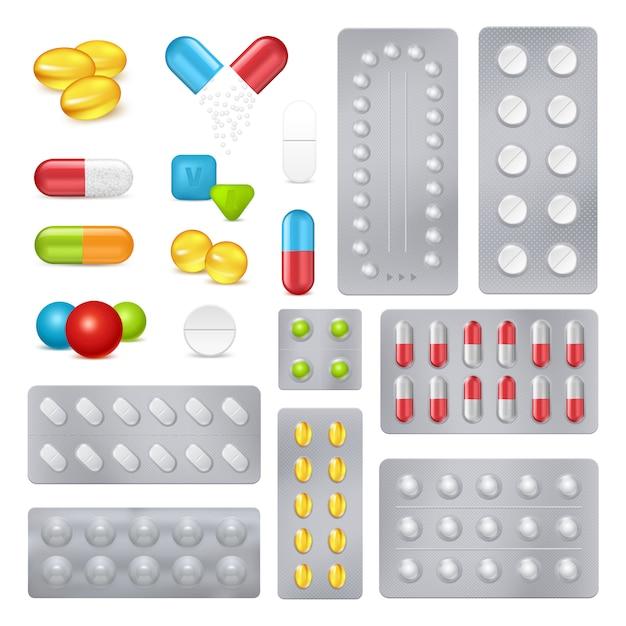 Geneeskunde pillen capsules realistische afbeeldingen instellen Gratis Vector