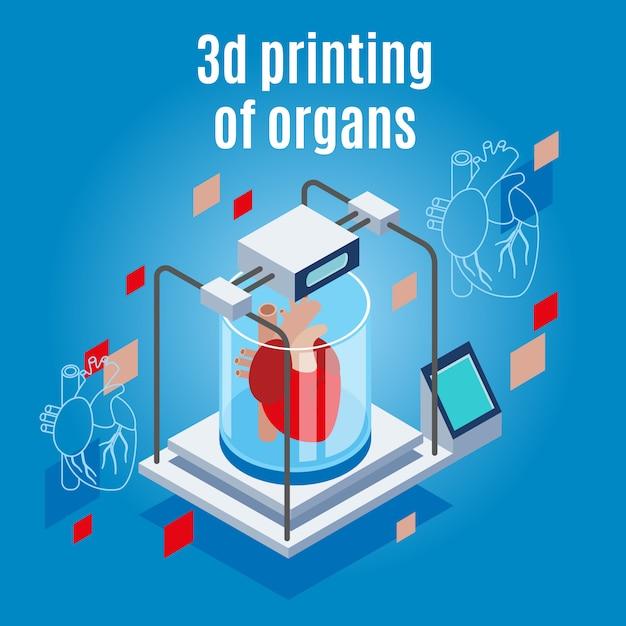 Geneeskunde van de toekomstige isometrische achtergrondsamenstelling met realistische 3d-printer en menselijk hart Gratis Vector