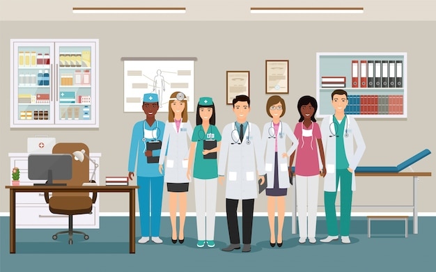Geneeskunde werknemer tekens wachten voor patiënten in de kliniek. dames en heren artsen en verpleegkundigen in uniform. Premium Vector