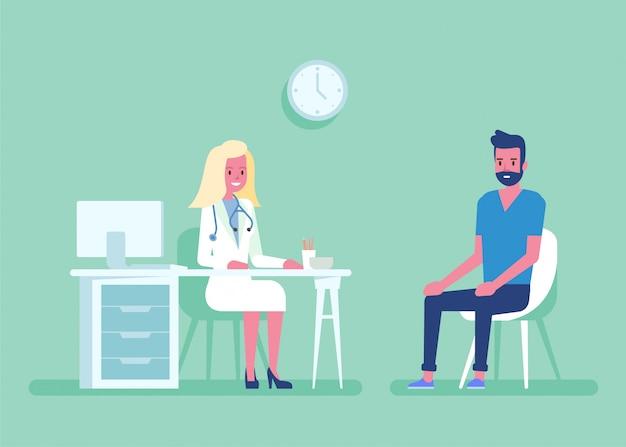 Geneeskundeconcept met een arts en een patiënt in het ziekenhuis medisch bureau. overleg en diagnose Premium Vector