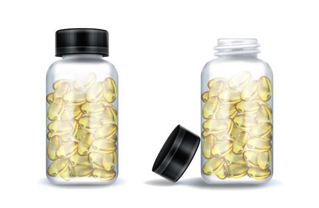 Geneeskundeflessen met duidelijke gele capsules die op wit worden geïsoleerd Gratis Vector