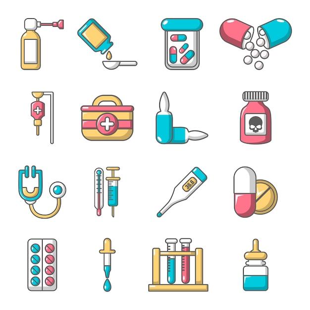 Geneesmiddelen geneeskunde pictogrammen instellen Premium Vector