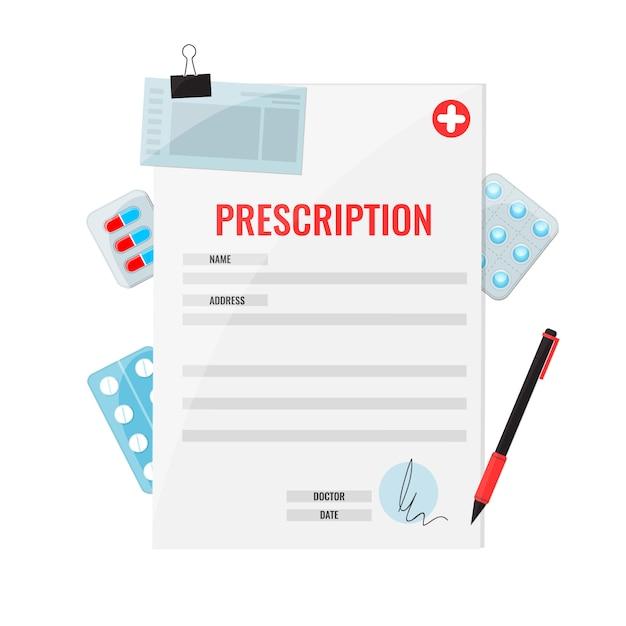 Geneesmiddelen op recept en pen met vlakke stijl pillen. Premium Vector