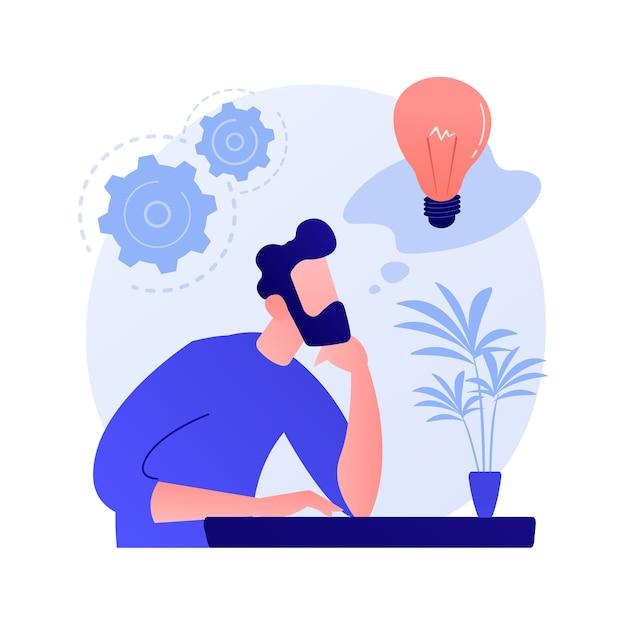 Generatie van bedrijfsideeën. plan ontwikkeling. nadenkend man met gloeilamp stripfiguur. technische mindset, ondernemersgeest, brainstormproces. Gratis Vector