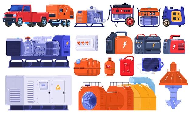 Generatorsreeks die van energie draagbare elektrische apparatuur produceren, de industriële motor van de machinesbenzine op witte illustratie. Premium Vector