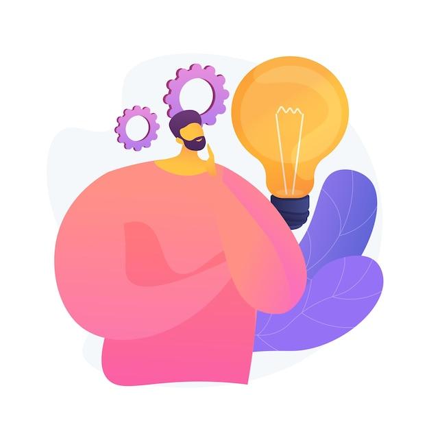 Genereren van bedrijfsideeën. plan ontwikkeling. nadenkend man met gloeilamp stripfiguur. technische mindset, ondernemersgeest, brainstormproces. vector geïsoleerde concept metafoor illustratie Gratis Vector