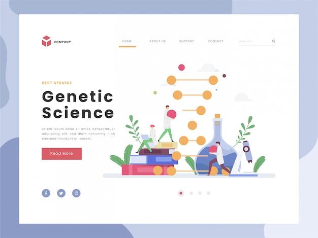 Genetic engineering, flat tiny de wetenschapper verandert delen van de structuur van de dna-ketenbiologie. vlakke stijlen. Premium Vector