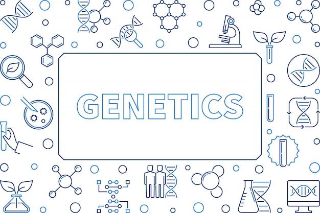 Genetica concept schetsen horizontaal frame. Premium Vector