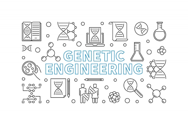Genetische manipulatie schetsen horizontale banner. Premium Vector